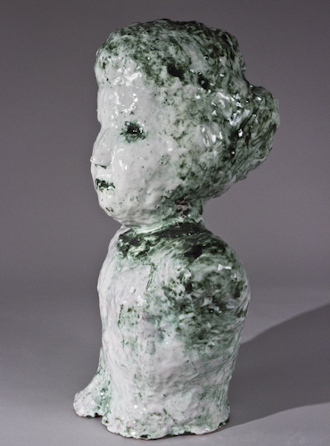 Majolica and Copper Portrait Bust with Flattened Face - 85c