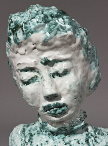 Majolica and Copper Portrait Bust with Closed Eyes - 48b