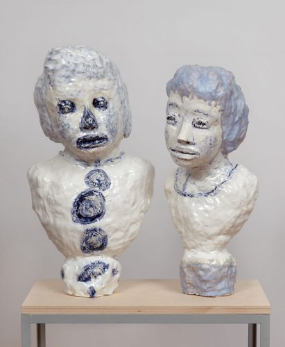 08_Siegel_Two_Majolica_and_Cobalt_Portrait_Busts_With_Large-Buttons_With_Lavender_Hair